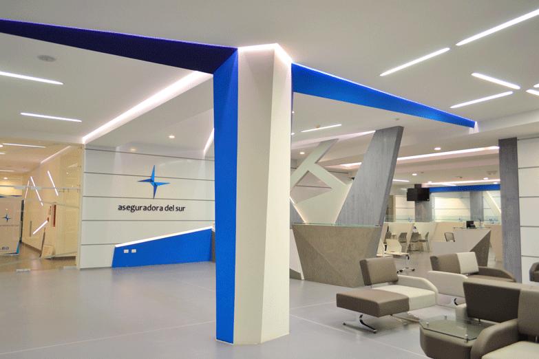 lobby,diseño,diseñointerior,corporativo,diseñolimpio,vanguardista, construcción, eficacia, seguridad, confianza, AseguradoradelSur