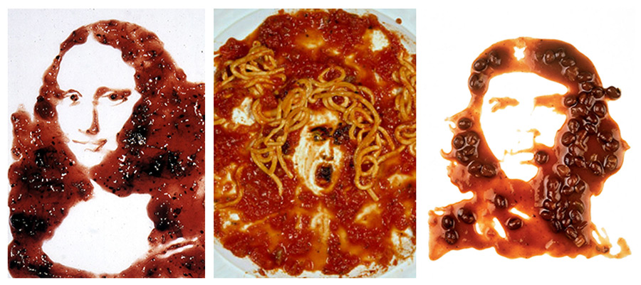 Arte contemporanea, Vik Muniz, Che Guevara, Medusa, Mona Lisa, comida