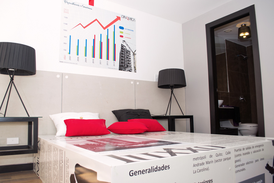 Departamento modelo, Luxxo, Dinamica, moderno, ejecutivo, plusvalia, dormitorio doble, camas, periódico, lineas, minimal, blanco, rojo, negro, sommier