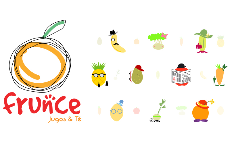 Frunce, Branding, frutas, jugos, detox, cafe, diseño, diseño gráfico