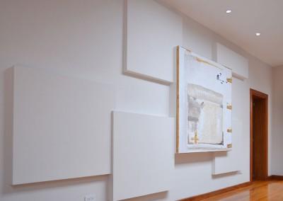 Sala familiar, cuadros, screen, tv