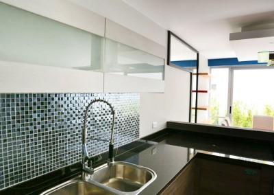cocina, diseño interior, mosaico vidrio, sironi, departamento