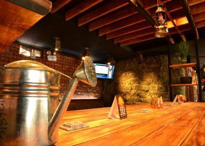 Restaurante, El Rey de las Menestras, diseño interior, diseño de interiores, comercial, Quito, Ecuador, diseño, gráfico, interiores, exteriores, mobiliario, lámparas, madera, tablones, pizarras, industrial, granja, barra, decoración